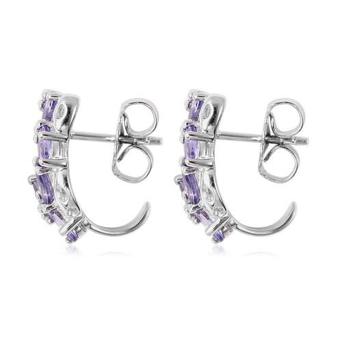 RACHEL GALLEY Misto Collection - Tanzanite Lattice Earrings (with Push Back) in Rhodium Overlay Sterling Silver 2.61 Ct.