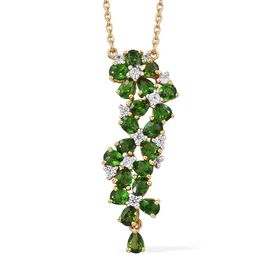 Russian Diopside (Pear), Natural Cambodian Zircon Floral Necklace (Size 18) in 14K Gold Overlay Sterling Silver 3.415 Ct,