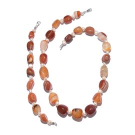 Carnelian and Fresh Water Pearl Necklace (Size 20) and Bracelet (Size 8) in Platinum Overlay Sterling Silver 460.000 Ct.