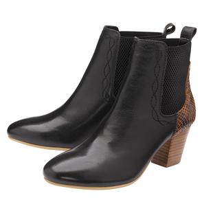 Ravel Moa Snake Pattern Leather Heeled Ankle Boots (Size 6) - Black