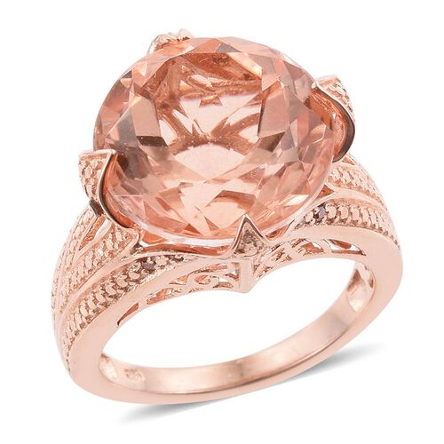 Galileia Blush Pink Quartz (Rnd), Red Diamond Ring in Rose Gold Overlay Sterling Silver 15.000 Ct.