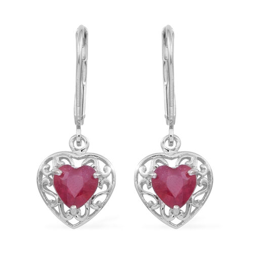 African Ruby (Hrt) Lever Back Earrings in Sterling Silver 2.000 Ct.