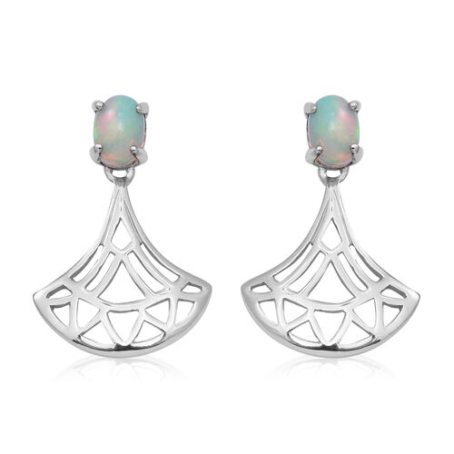 Ethiopian Welo Opal Earrings (with Push Back) in Rhodium Overlay Sterling Silver 1.12 Ct.