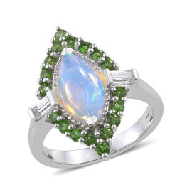 Ethiopian Welo Opal (Mrq 1.00 Ct), Russian Diopside and Natural Cambodian Zircon Ring in Platinum Ov