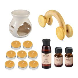 Ceramic Diffuser with 2 Essential and a Massage Oil, 8 Tea Light Candle and Wooden Roller (Jasmine F