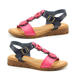 Heavenly Feet Blossom Sandals with Buckle Strap   - Fuchsia and Navy