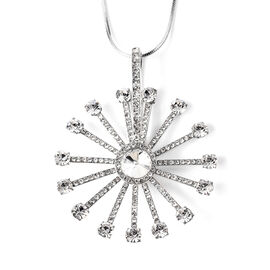 White Austrian Crystal (Rnd) Wheel Pendant with Chain (Size 29 with 2.5 inch Extender) in Silver Ton