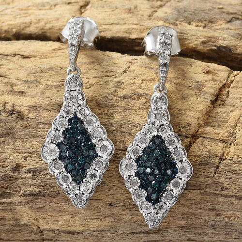 Blue and White Diamond (Rnd) Earrings (with Push Back) in Platinum Overlay with Blue Plating Sterling Silver  0.500 Ct, Number of Diamonds 106.