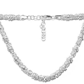 Artisan Crafted Platinum Overlay Sterling Silver Byzantine Necklace (Size 20 with 2 inch Extender),