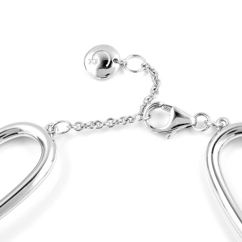RACHEL GALLEY Link Bracelet (Sizes 7 - 8 inches) in Rhodium Overlay Sterling Silver, Silver wt 23.90 Gms.