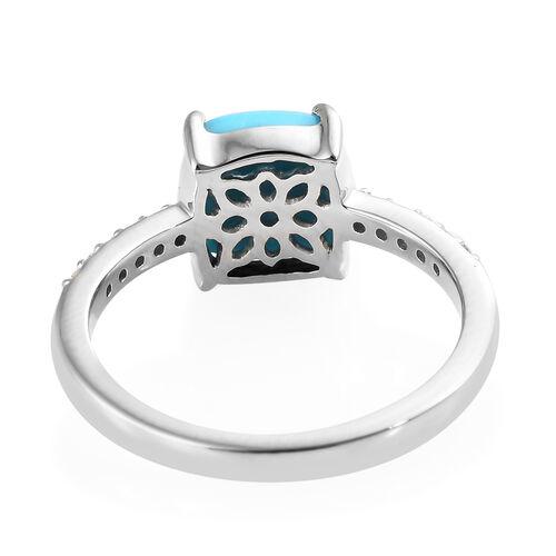 RHAPSODY 950 Platinum Arizona Sleeping Beauty Turquoise (Cush 2.00 Ct) Diamond Ring 2.100 Ct.