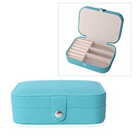 Portable Jewellery Organiser with Button Closure and Earrings Plate, Ring, Necklace and Other Jewell