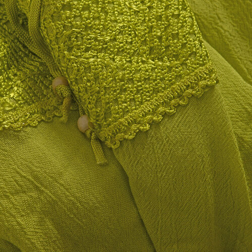 New for Spring Olive Green Top with Embroidery (Free Size 81x58.5x50 Cm)