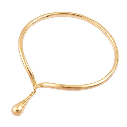 LucyQ Single Drip Bangle (Size 7.75) in Yellow Gold Overlay Sterling Silver 29.35 Gms.
