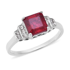 African Ruby (Oct), Natural White Cambodian Zircon Ring in Rhodium Overlay Sterling Silver 2.660 Ct.