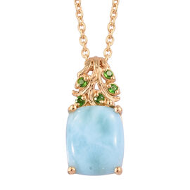 Larimar (Cush 11x9 mm), Russian Diopside Pendant With Chain (Size 18) in 14K Gold Overlay Sterling Silver 4.500 Ct.