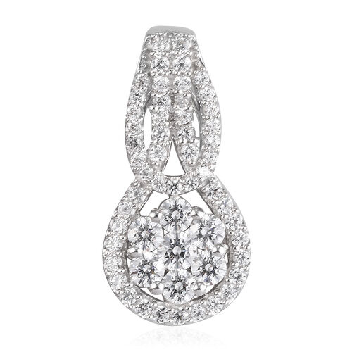 J Francis Platinum Overlay Sterling Silver Pendant Made with SWAROVSKI ZIRCONIA 4.20 Ct.