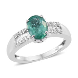 1.35 Ct AA Zambian Emerald and Diamond Solitaire Ring in 14K White Gold 3.7 Grams I3 GH