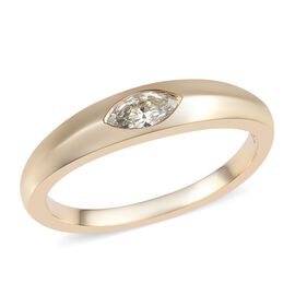 14K Yellow Gold SGL Certified Diamond (Mrq 6x3mm) (I1/H-I) Solitaire Ring 0.20 Ct.