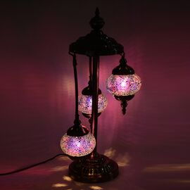Handmade Turkish 3 Globe Mosaic Glass Table Lamp with Bronze Base - Blue and Multi