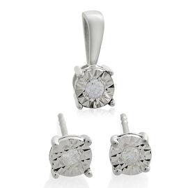 Diamond Solitaire Pendant and Stud Earrings Set in 9K White Gold SGL Certified I3 GH