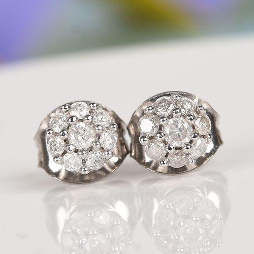 9K White Gold SGL CERTIFITED Diamond (Rnd) (I3/G-H) Earrings (with Push Back)  0.250 Ct.