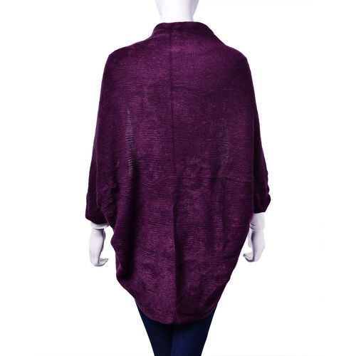Purple Colour Ruana with Sleeve (Size 115x65 Cm)
