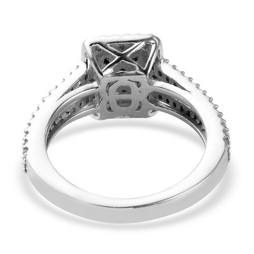 Natural Diamond Cluster Ring in Platinum Overlay Sterling Silver 0.50 Ct.