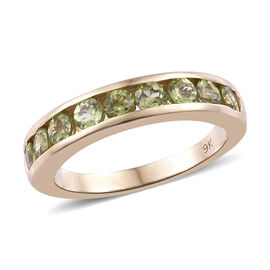9K Yellow Gold AA Hebei Peridot (Rnd) Half Eternity Band Ring 1.150 Ct.