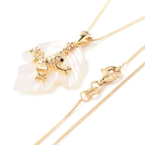 GP - White Mother of Pearl, Blue Sapphire and Boi Ploi Black Spinel Frog on Leaf Pendant With Chain (Size 18) in Yellow Gold Overlay Sterling Silver