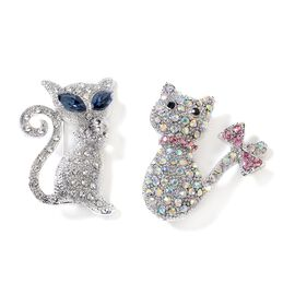 Set of 2 Multi Colour Austrian Crystal (Rnd) Simulated Blue Sapphire Kitty Brooch