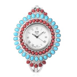 TJC Special-EON 1962 Swiss Movement Coral and Sleeping Beauty Turquoise Bangle Watch (Size 7.5) in Sterling Silver (Silver wt 45.05 Gms) 11.080 Ct.