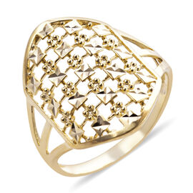 Royal Bali Collection - 9K Yellow Gold Diamond Cut Ring, Gold wt 2.35 Gms