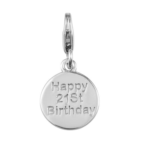 Happy 21 Birthday Charm in Platinum Overlay Sterling Silver