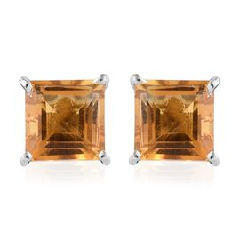 Citrine (Sqr) Stud Earrings (with Push Back) in Platinum Overlay Sterling Silver 2.250 Ct.
