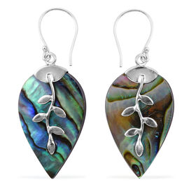 Royal Bali Collection - Abalone Shell Leaf Hook Earrings in Sterling Silver