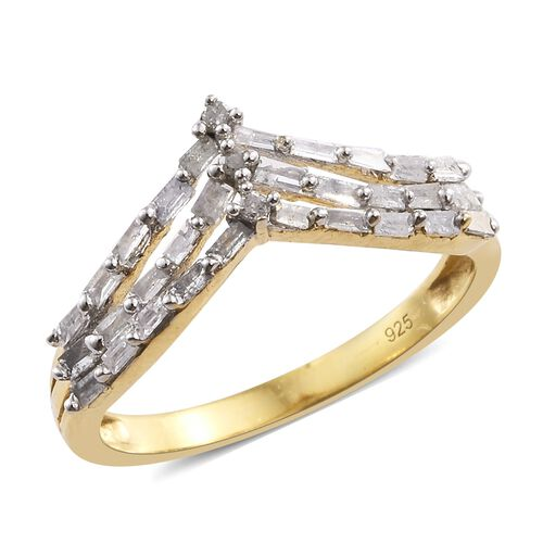 Diamond (Rnd) Triple Row Chevron Ring in 14K Gold Overlay Sterling Silver 0.500 Ct.