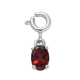 Mozambique Garnet (Ovl) Charm in Platinum Overlay Sterling Silver 1.00 Ct.
