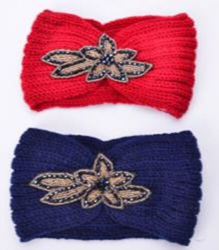 Red and Blue Colour Beads Floral Pattern Hairbands (Size 10x22 Cm)