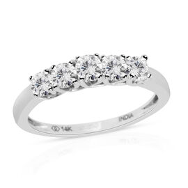 New York Close Out 0.75 Ct Diamond 5 Stone Ring in 14K White Gold 1.8 Grams I2 GH