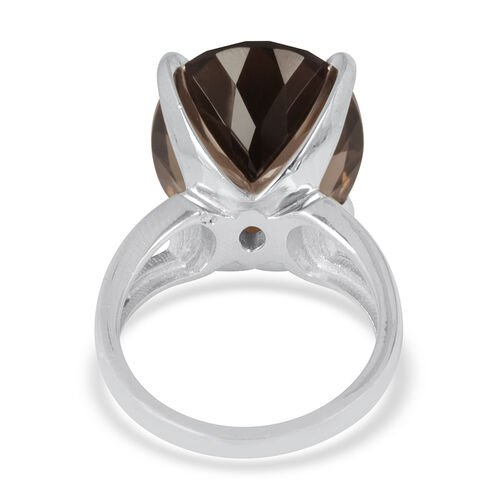 Rare 100 Facet Brazilian Smoky Quartz (Ovl) Solitaire Ring in Platinum Overlay Sterling Silver 16.750 Ct.