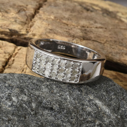 Diamond (Rnd) Band Ring in Platinum Overlay Sterling Silver 0.250 Ct.