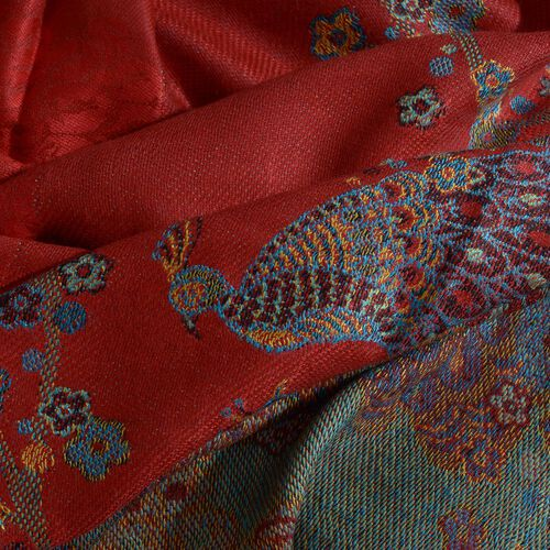 Red, Orange and Multi Colour Peacock Pattern Jacquard Scarf with Tassels (Size 180X70 Cm)