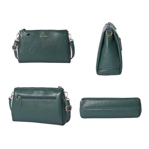 SENCILLEZ 100% Genuine Leather Crossbody Bag with Adjustable Shoulder Strap and Zipper Closure (Size 28x9x17cm) - Green