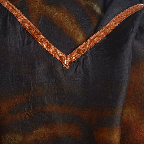 100% Mulberry Silk Yellow, Black and Multi Colour Tiger Face Pattern Kaftan (Free Size)