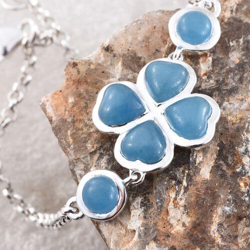 Burmese Blue Jade (Hrt) Clover Bracelet (Size 7.5) in Sterling Silver 5.250 Ct.