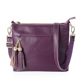 Super Soft 100% Genuine Leather Purple Colour Cross Body Bag with tassels and Adjustable and Removable Shoulder Strap (Size 23x20x7.5 Cm)