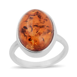 5.20 Ct Orange Colour Baltic Amber Solitaire Ring in Sterling Silver
