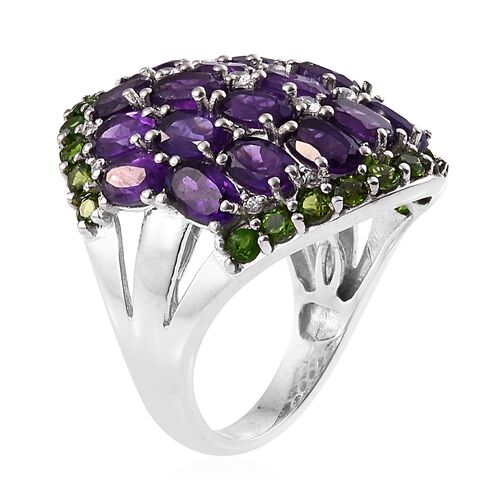 Limited Edition - Designer Inspired - Amethyst (Ovl), Russian Diopside and Natural Cambodian Zircon Ring in Platinum Overlay Sterling Silver 10.500 Ct.