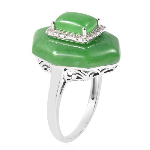 Green Jade (Cush) and Natural White Cambodian Zircon Ring in Rhodium Overlay Sterling Silver 24.00 Ct.